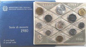 obverse: Repubblica Italiana. Serie Divisionale 1980. Metalli vari. Gig. 5.FDC. In confezione della zecca.