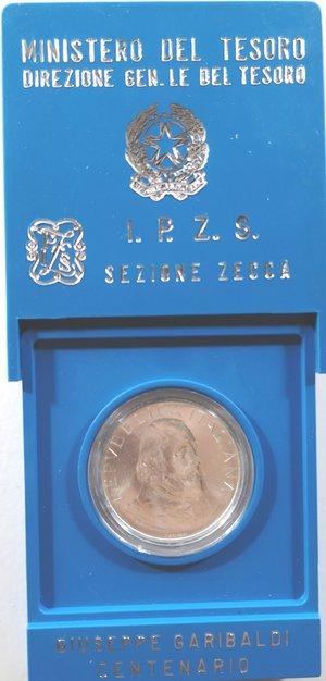 obverse: Repubblica Italiana. 500 Lire 1982 Garibaldi. Ag. Gig. 420.FDC. Con astuccio della zecca..