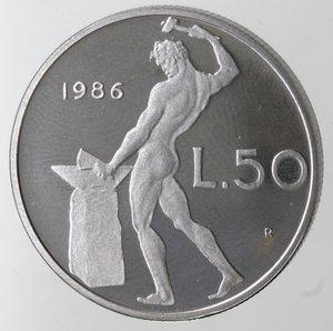 reverse: Repubblica Italiana. 50 Lire 1986. Ac. FDC. Proof.