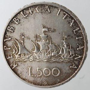 reverse: Repubblica Italiana. 500 Lire 1996. Caravelle. Ag. Gig. 35. qFDC. Patinata. Dalla serie della zecca. NC.