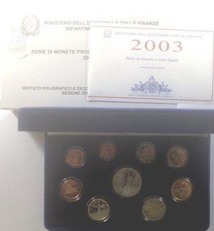 obverse: Repubblica Italiana. Divisionale 2003. Con  Ag. FDC Proof. Confezione della zecca.