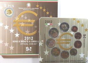 obverse: Repubblica Italiana. Serie divisionale della Zecca 2012. 9 Valori. Metalli vari. Con 2 euro commemorativo 10° anno Euro. FDC. In confezione originale della Zecca.