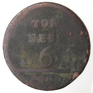 reverse: Zecche Italiane. Napoli. Ferdinando IV. 6 Tornesi 1800. Ae. B. R.
