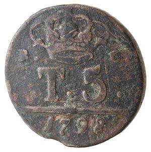 reverse: Zecche Italiane. Napoli. Ferdinando IV. 5 Tornesi 1798. Ae. MB. R.