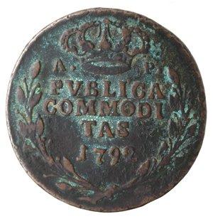 reverse: Zecche Italiane. Napoli. Ferdinando IV. Pubblica da 3 Tornesi 1792. Ae. qMB. Corrosioni. NC.