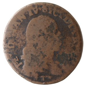 obverse: Zecche Italiane. Napoli. Ferdinando IV. 1 Grano 12 Cavalli 1790 CC. Ae. qMB-MB. R.