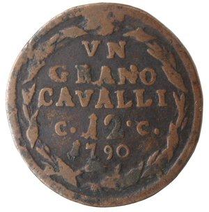 reverse: Zecche Italiane. Napoli. Ferdinando IV. 1 Grano 12 Cavalli 1790 CC. Ae. qMB-MB. R.