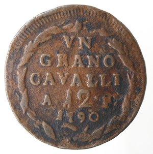 reverse: Zecche Italiane. Napoli. Ferdinando IV. 1 Grano 12 Cavalli 1790 AP. Ae. MB.