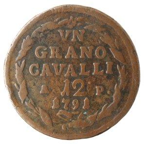 reverse: Zecche Italiane. Napoli. Ferdinando IV. 1 Grano 12 Cavalli 1791. Ae. qMB-MB.