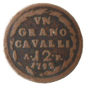 reverse: Zecche Italiane. Napoli. Ferdinando IV. 1 Grano 12 Cavalli 1792. Ae. qMB.