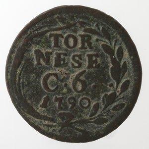 reverse: Zecche Italiane. Napoli. Ferdinando IV. Tornese 1790. Ae. MB.