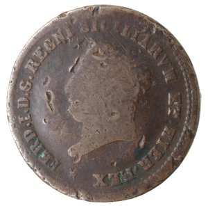 obverse: Zecche Italiane. Napoli. Ferdinando I. 5 Tornesi 1819. Ae. B. Colpi. NC.