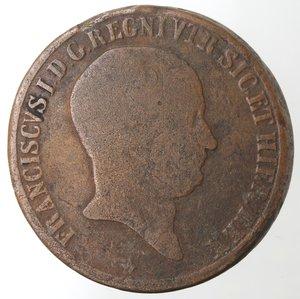 obverse: Zecche Italiane. Napoli. Francesco I. 10 Tornesi 1825. Ae. MB.