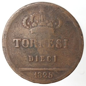 reverse: Zecche Italiane. Napoli. Francesco I. 10 Tornesi 1825. Ae. MB.