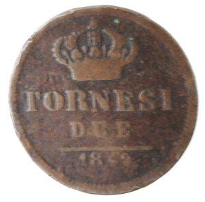 reverse: Zecche Italiane. Napoli. Ferdinando II. 2 Tornesi 1849. Ae. B. NC.