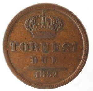 reverse: Zecche Italiane. Napoli. Ferdinando II. 2 Tornesi 1852. Ae. MB.