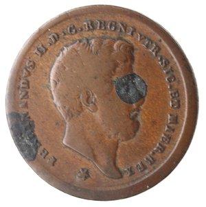 obverse: Zecche Italiane. Napoli. Ferdinando II. 2 Tornesi 1857. Ae. MB. Macchie nere.