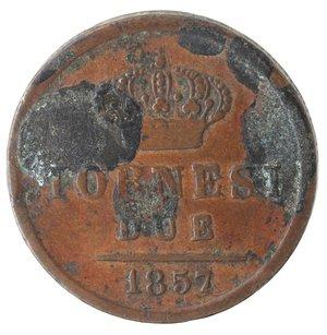 reverse: Zecche Italiane. Napoli. Ferdinando II. 2 Tornesi 1857. Ae. MB. Macchie nere.