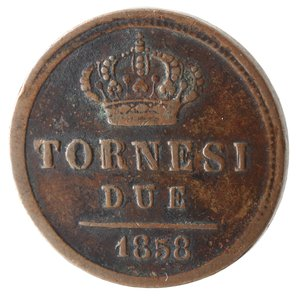 reverse: Zecche Italiane. Napoli. Ferdinando II. 2 Tornesi 1858. Ae. MB+.