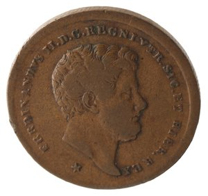 obverse: Zecche Italiane. Napoli. Ferdinando II. 2 Tornesi 1859. Ae. qBB.