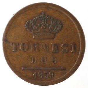 reverse: Zecche Italiane. Napoli. Ferdinando II. 2 Tornesi 1859. Ae. qBB.