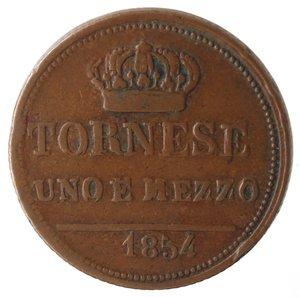reverse: Zecche Italiane. Napoli. Ferdinando II. 1 Tornese e mezzo 1854. Ae. MB+.