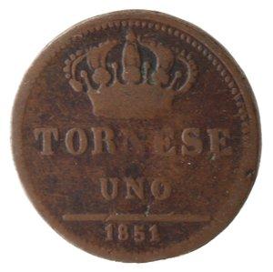 reverse: Zecche Italiane. Napoli. Ferdinando II. Tornese 1851. Ae. qMB.