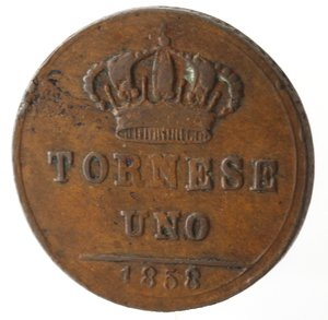 reverse: Zecche Italiane. Napoli. Ferdinando II. Tornese 1858. Ae. MB+.