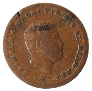 obverse: Zecche Italiane. Napoli. Ferdinando II. Tornese 1858. Ae. MB. Mancanza di conio.