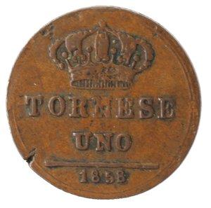 reverse: Zecche Italiane. Napoli. Ferdinando II. Tornese 1858. Ae. MB. Mancanza di conio.