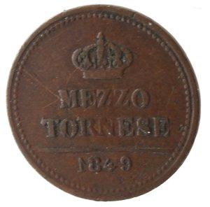 reverse: Zecche Italiane. Napoli. Ferdinando II. Mezzo Tornese 1849. Ae. MB. Graffi al rovescio. R.