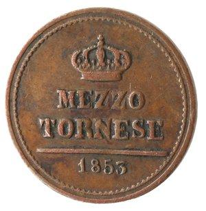 reverse: Zecche Italiane. Napoli. Ferdinando II. Mezzo Tornese 1853. Ae. MB+.