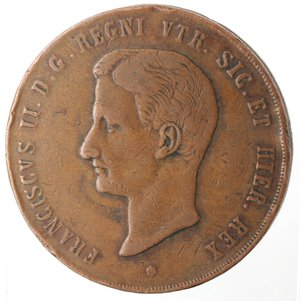 obverse: Zecche Italiane. Napoli. Francesco II. 10 Tornesi 1859. Ae. MB. Colpi al bordo.