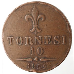 reverse: Zecche Italiane. Napoli. Francesco II. 10 Tornesi 1859. Ae. MB. Colpi al bordo.