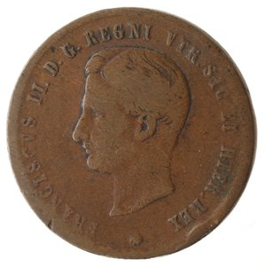 obverse: Zecche Italiane. Napoli. Francesco II. 2 Tornesi 1859. Ae. MB. Colpo al bordo.