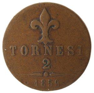 reverse: Zecche Italiane. Napoli. Francesco II. 2 Tornesi 1859. Ae. MB. Colpo al bordo.