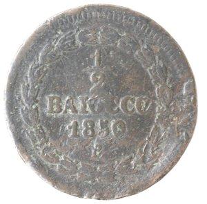 reverse: Zecche Italiane. Roma. Pio IX. Mezzo Baiocco 1850 ANN V. Ae. qMB.