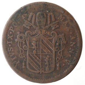 obverse: Zecche Italiane. Roma. Pio IX. Mezzo Baiocco 1851 ANN V. Ae. qMB.