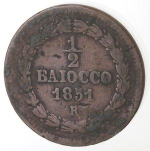 reverse: Zecche Italiane. Roma. Pio IX. Mezzo Baiocco 1851 ANN V. Ae. qMB.