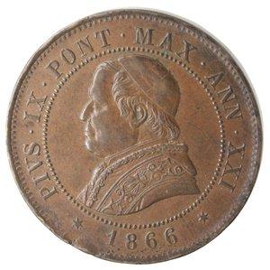 obverse: Zecche Italiane. Roma. Pio IX. 4 Soldi 1866 An XXI. Ae. MB+. Colpi al bordo.