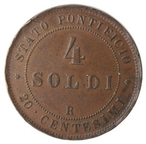 reverse: Zecche Italiane. Roma. Pio IX. 4 Soldi 1866 An XXI. Ae. MB+. Colpi al bordo.