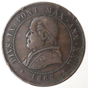 obverse: Zecche Italiane. Roma. Pio IX. 4 Soldi 1868 An XXII. Ae. qMB.
