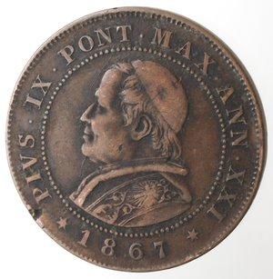 obverse: Zecche Italiane. Roma. Pio IX. 2 Soldi 1867 An XXI. Ae. qMB.