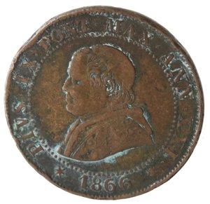 obverse: Zecche Italiane. Roma. Pio IX. Soldo 1866 An XXI. Ae. qMB.