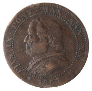obverse: Zecche Italiane. Roma. Pio IX. Soldo 1867 An XXI. Ae. MB.