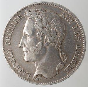 obverse: Monete Estere. Belgio. Leopoldo I. 1831-1865. 5 Franchi 1848. Ag. KM 3.2. Peso gr. 24,83. BB.