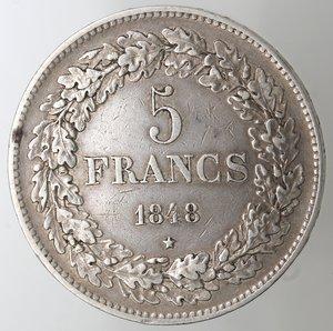 reverse: Monete Estere. Belgio. Leopoldo I. 1831-1865. 5 Franchi 1848. Ag. KM 3.2. Peso gr. 24,83. BB.