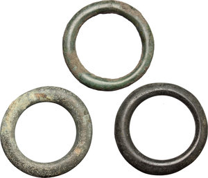 obverse: Celtic Word.. Multiple lot of three (3) AE ring money, 1st century BC-1st century AD