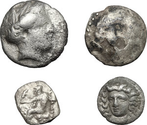 obverse: Greek World.. Multiple lot of four (4) unclassified AR coins, including: Larissa and Celtic coins
