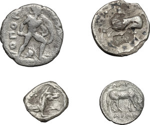 reverse: Greek World.. Multiple lot of four (4) unclassified AR coins, including: Larissa and Celtic coins